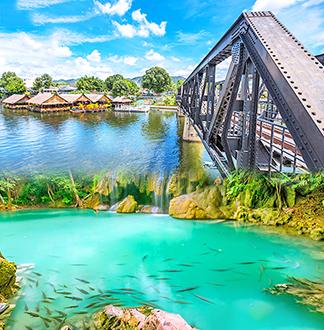 방콕 단독택시 칸차나부리 + 에라완 국립공원 1일 투어 (픽업/샌딩 포함)
