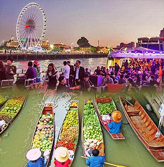 방콕 단독택시 담넌사두억 1일 투어 (픽업/샌딩 포함)